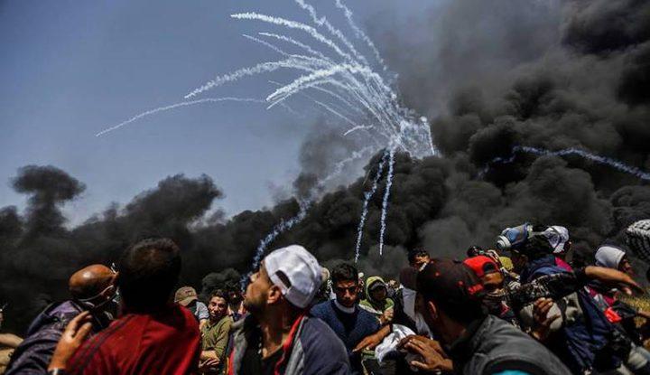 """اصابات خلال قمع الاحتلال للمشاركين في جمعة """"فليسقط مؤتمر البحرين"""""""