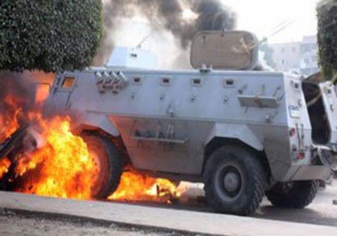 اصابات وتفجير مدرعة عسكرية في العريش