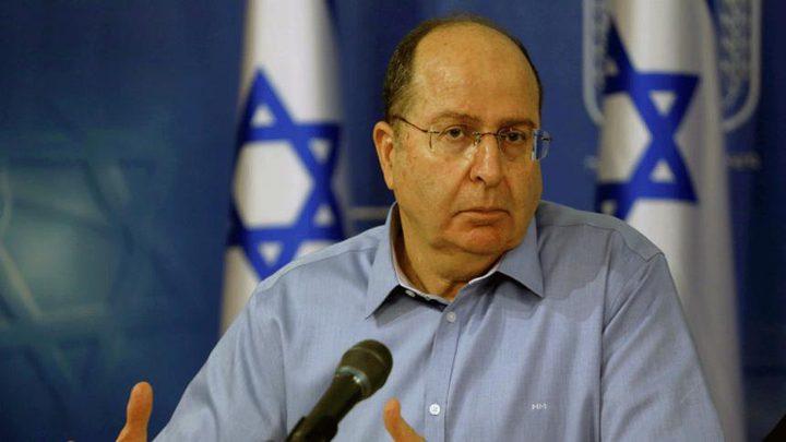 يعلون: يجب إيجاد حل للأزمة الإنسانية في غزة