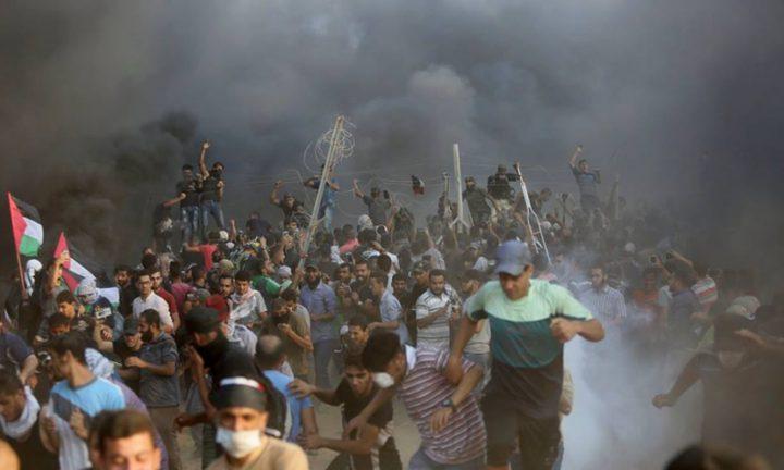 اصابات خلال قمع الاحتلال للمشاركين في مخيمات العودة شرق غزة