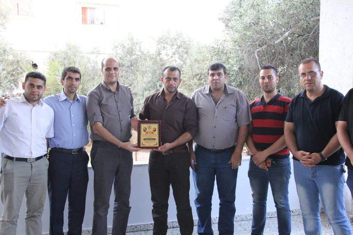 المكتب الحركي للصحفيين شرق غزة يكرم د.تربان والصحفي الحرازين