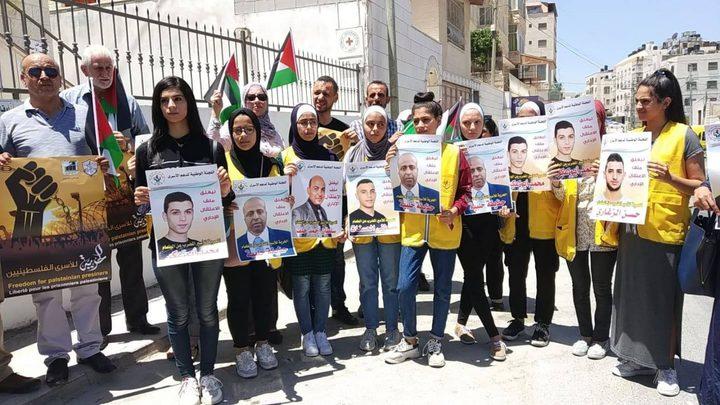 مسيرة تضامنية مع الاسرى الإداريين المضربين عن الطعام في نابلس