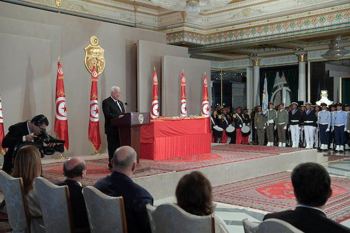 الرئيس الفلسطيني محمود عباس ، يحضر جنازة الرئيس التونسي الراحل الباجي قايدالسبسي ، في تونس العاصمة ، تونس ، 27 يوليو 2019.