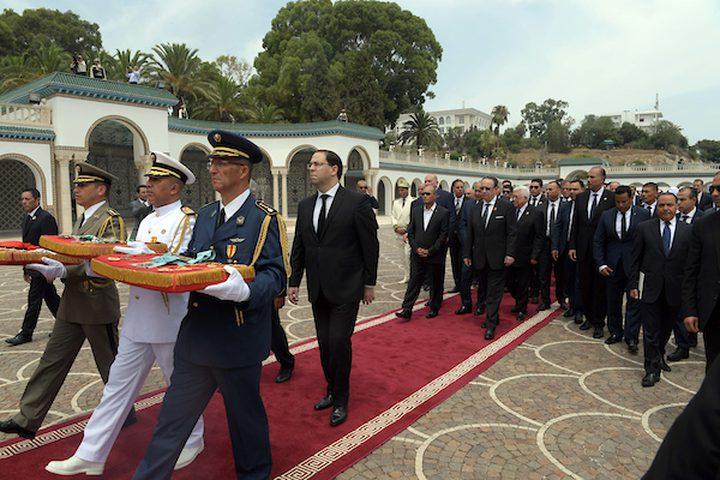 الرئيس الفلسطيني محمود عباس ، يحضر جنازة الرئيس التونسي الراحل الباجي قايدالسبسي ، في تونس العاصمة ، تونس ، 27 يوليو 2019