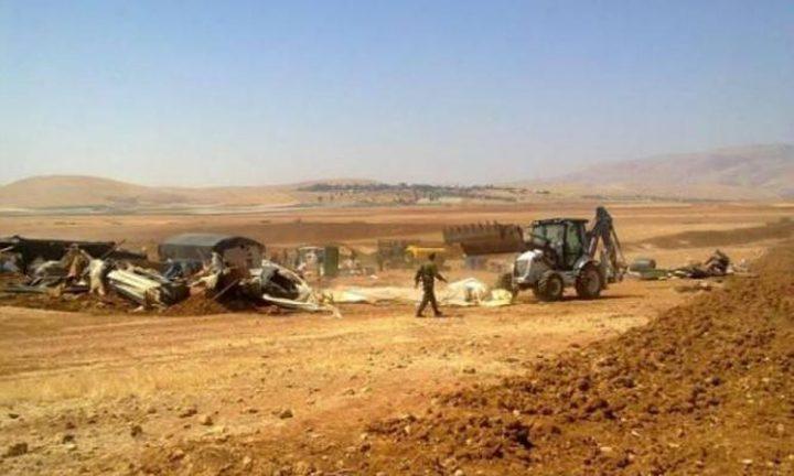 هدم مساكن وممتلكات 4عائلات فلسطينية بالأغوار