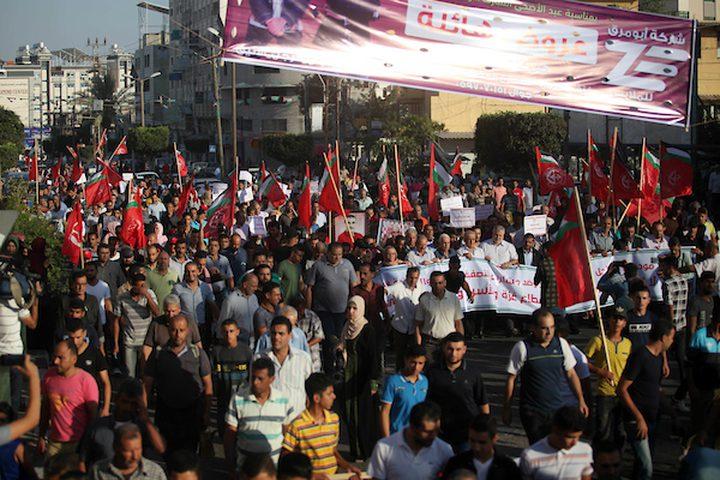 مسيرة حاشدة في غزة دعماً للأسرى ولأهل القدس واللاجئين بلبنان