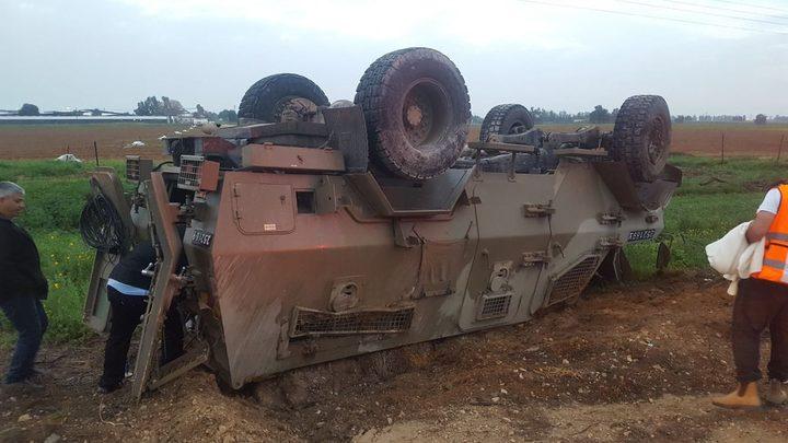 إصابة 4 عناصر من قوات الاحتلال جراء انقلاب جيب عسكري