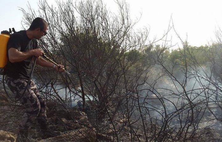 حريقان أحدهما بدراجة هوائية وآخر بأرض زراعية في قلقيلية