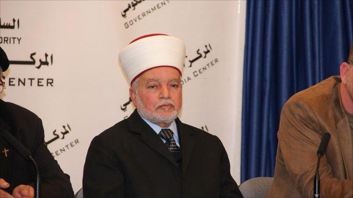 المفتي يحذر من محاولات سن قانون يسمح للمستوطنين بشراء أراض