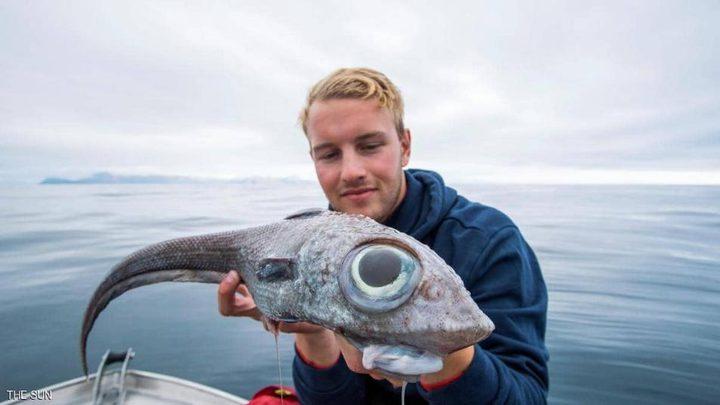 """شاب يصطاد """"السمكة الديناصور"""" قبالة إحدى جزر النرويج"""