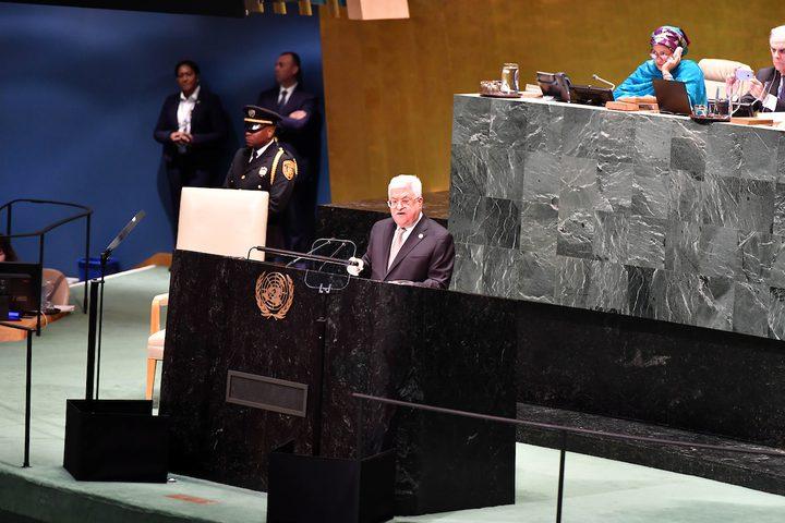 الرئيس محمود عباس خلال خطابه بالدورة(74)للجمعية العامة في نيويورك