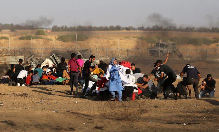 شهيد واصابات بمسيرات العودة شرق غزة