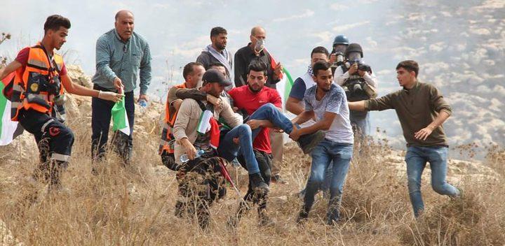 اصابة الزميل مروان الأغبر خلال مشاركته بمسيرة سلمية شمال رام الله