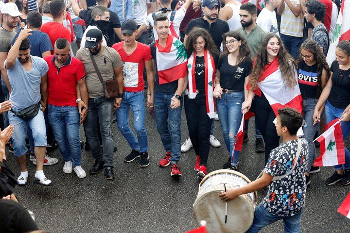 شاهد مظاهرات بيروت بتصوير طائرة الدرون