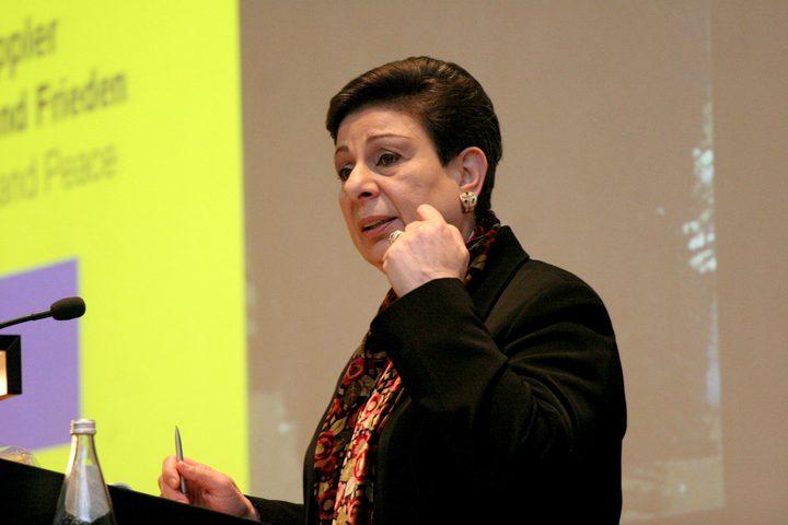 عشراوي تبحث مع رئيسة مؤسسة السلام بالشرق الأوسط التطورات السياسية