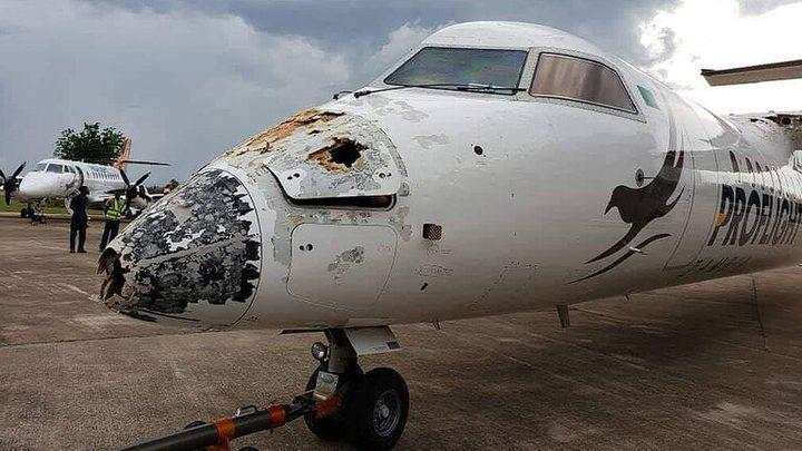 عاصفة تدمر طائرة  وتجبرها على الهبوط الاضطراري