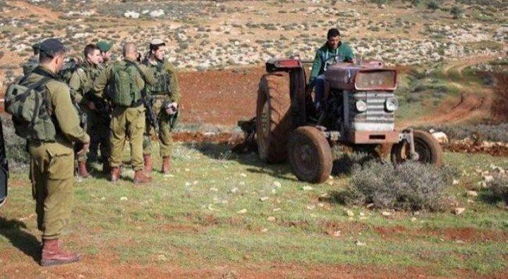 الاحتلال يستولي على جرار زراعي غرب نابلس