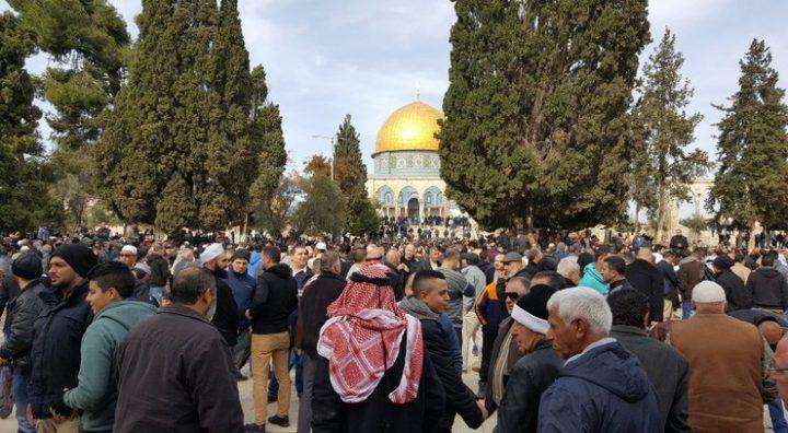 """45 ألفاً يؤدون الجمعة في """"الأقصى"""" رغم إجراءات الاحتلال"""