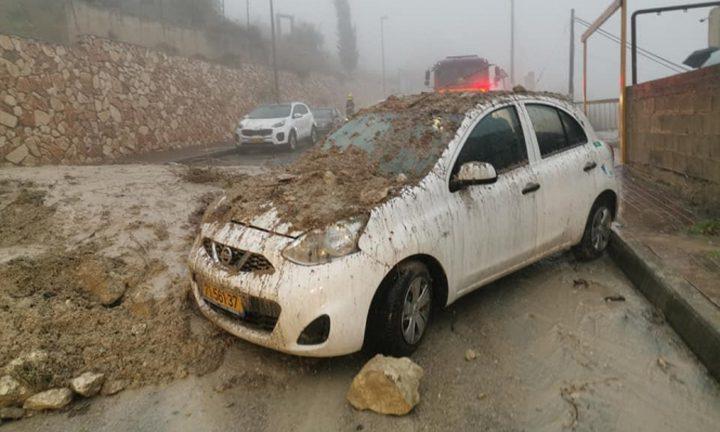 سيول وفيضانات وأضرار لمنازل وسيارات داخل اراضي عام 48