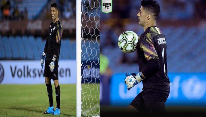 سواريز يلعب حارسا لمرمى منتخب الأوروغواي