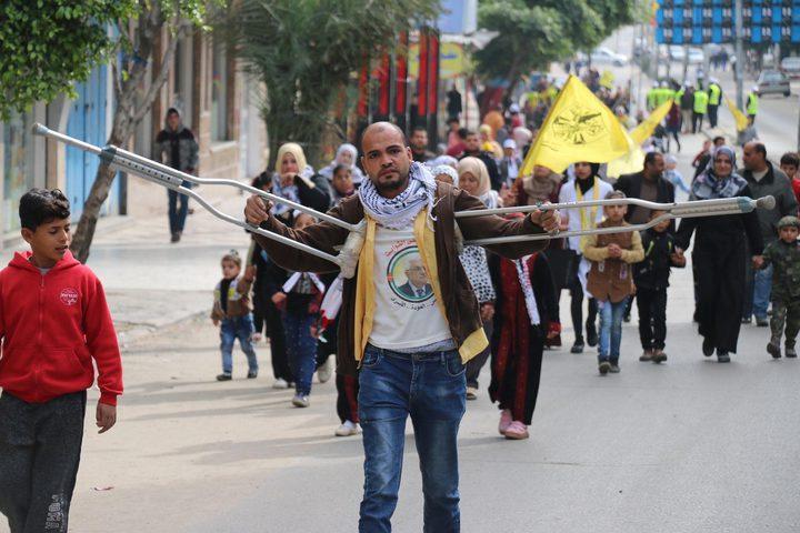 فتح تحيي ذكرى انطلاقتها الـ55 بمسيرة حاشدة وسط غزة