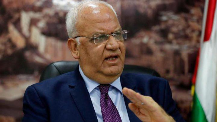 عريقات:الحكومة الإسرائيلية ترفض حل الدولتين