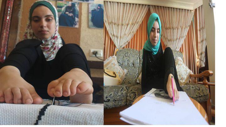 الفتاة اية مسعود من غزة ترسم وتطرز بقدميها