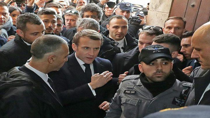 الرئيس الفرنسي يطرد شرطة الاحتلال من أمام كنيسة بالقدس