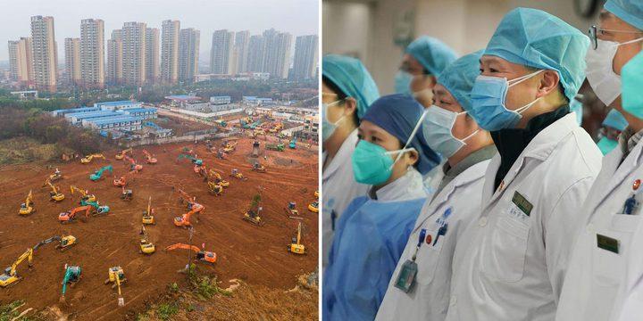 الصين.. عشرات الجرافات تعمل بسرعة خيالية لبناء مستشفى كورونا