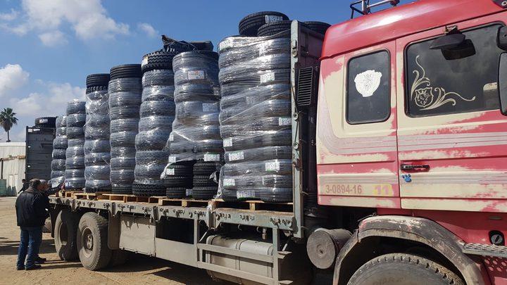 """""""النقل والمواصلات"""":استئناف إدخال إطارات المركبات  إلى قطاع غزة"""
