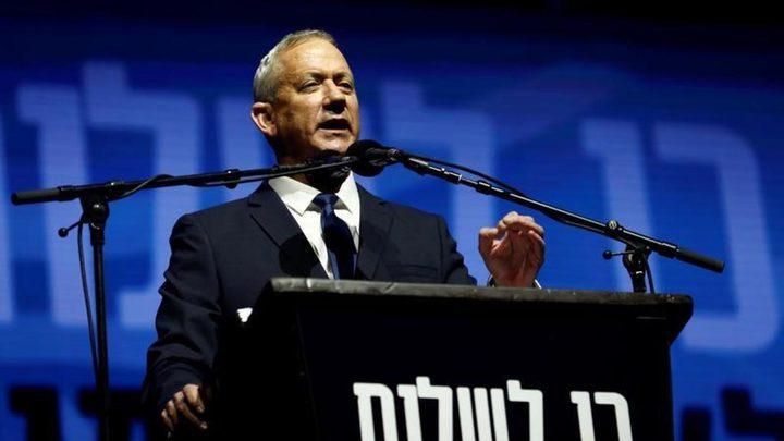 غانتس يدعو حكومة الاحتلال لاتخاذ سياسة حاسمة ضد غزة