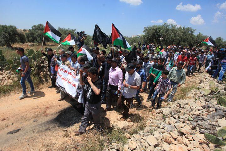 """انطلاق مسيرة بالقرب من جدار الضم في نعلين تنديدا بـ صفقة القرن"""""""