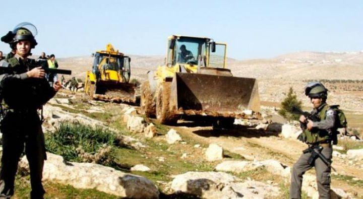 الاحتلال يواصل تجريف أراض بورين جنوب نابلس