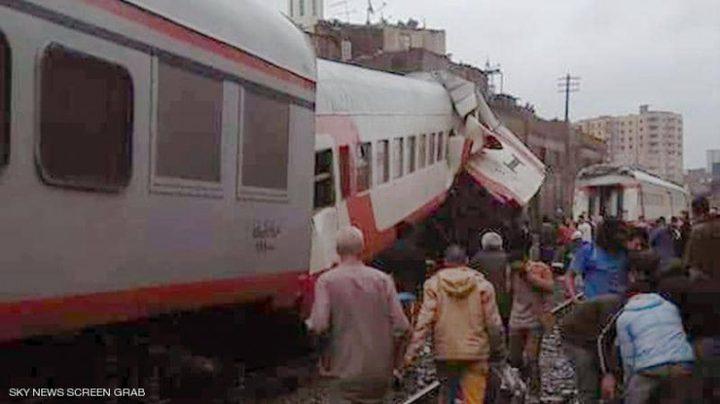 13 إصابة جراء تصادم قطاري ركاب شمالي القاهرة