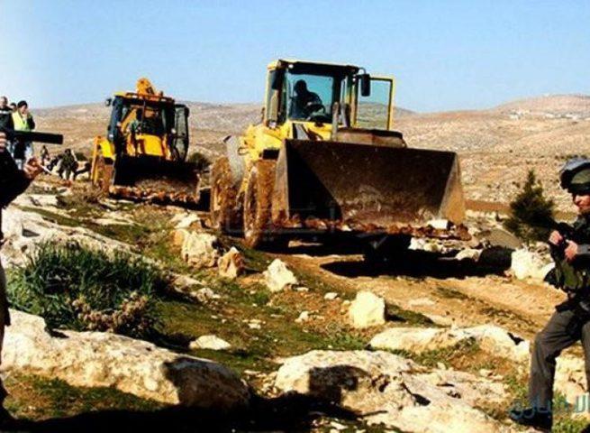 أريحا: مستوطن يجرف أراضي في تجمع عرب المليحات