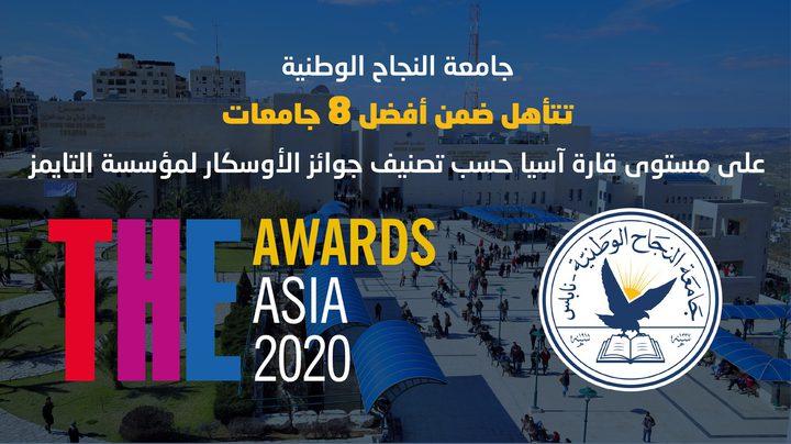 جامعة النجاح تتأهل ضمن أفضل 8 جامعات على مستوى قارة آسيا