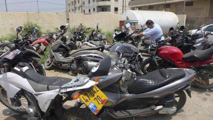 شرطة جنين تضبط 20 دراجة نارية غير قانونية