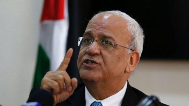 عريقات:الانقلاب جرح نازف واليد ما تزال ممدودة لتحقيق المصالحة