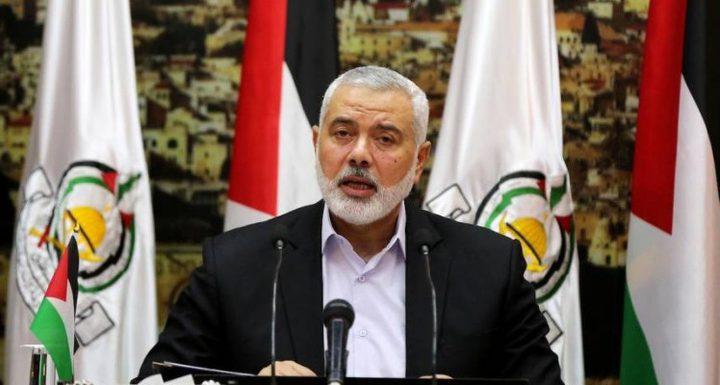 هنية: شعبنا الفلسطيني موحد لمواجهة خطة الضم