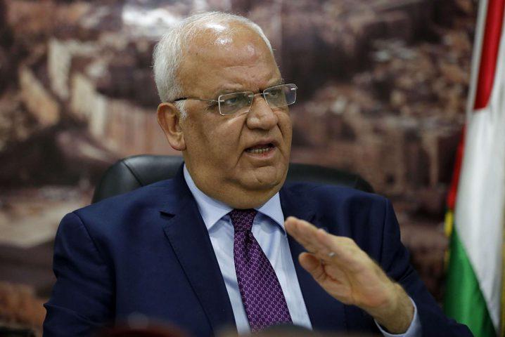 """عريقات: الرئيس عباس يُواصل الحراك الدبلوماسي لمنع """"الضم"""""""
