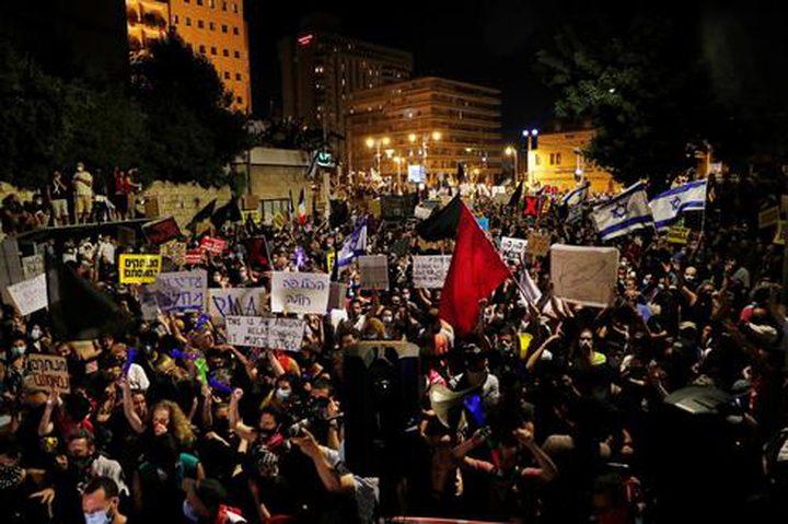 """آلاف الإسرائيليين يتظاهرون ضد """"الفساد والفشل"""" في حكومة الاحتلال"""