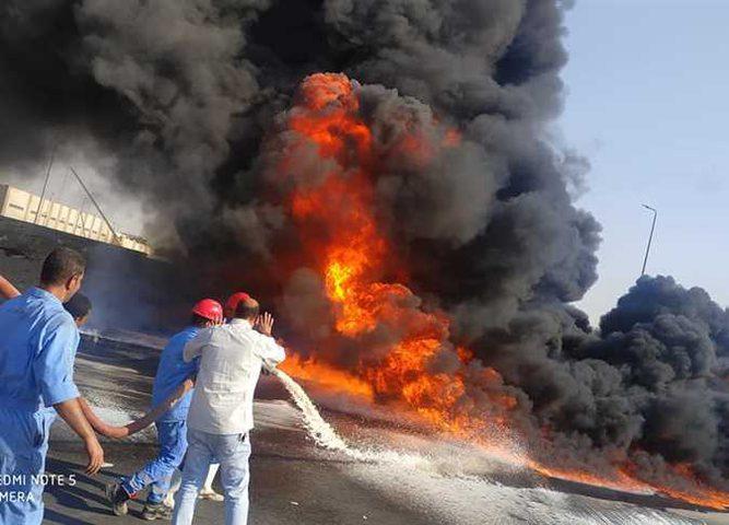 17 مصابا في حريق خط أنابيب شقير-مسطرد في مصر
