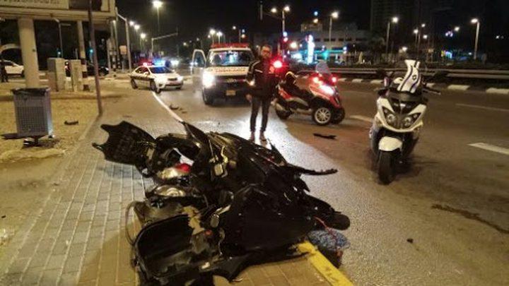إصابة خطيرة لراكب دراجة نارية بحادث طرق قرب الخضيرة