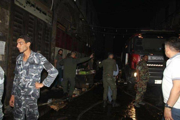 حريق هائل في سوق البزورية بدمشق القديمة