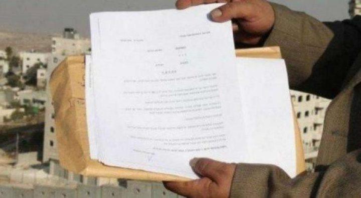 الاحتلال يسلم 9 اخطارات لوقف العمل والهدم غرب سلفيت