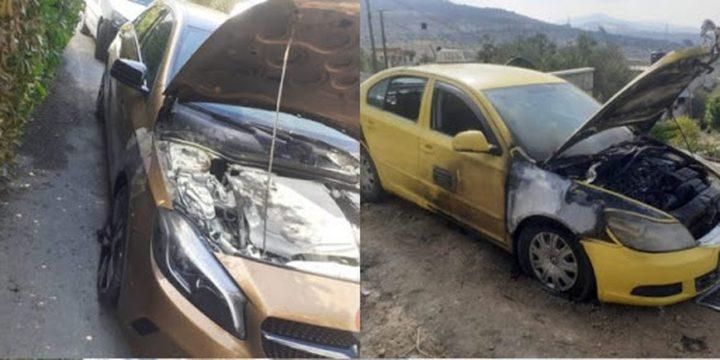 مستوطنون يحرقون سيارتين ويخطون شعارات عنصرية بقرية فرعتا