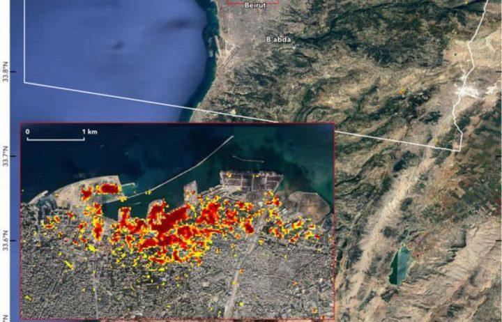 ناسا تنشر خريطة بحجم الدمار الناجم عن انفجار بيروت