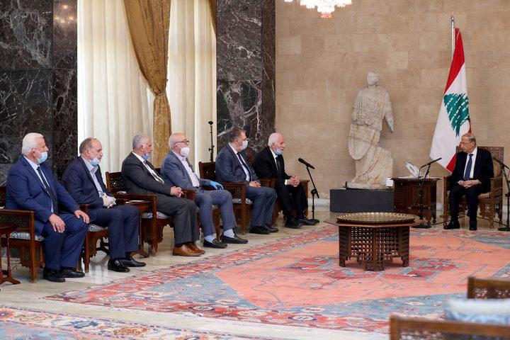 وفد فلسطيني يلتقي الرئيس اللبناني