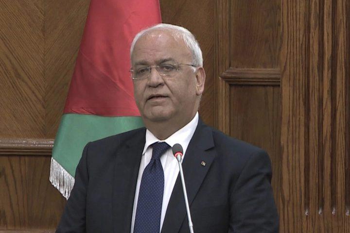 عريقات:نرى في الخطوة الاماراتية مكافأة لإسرائيل على جرائمها