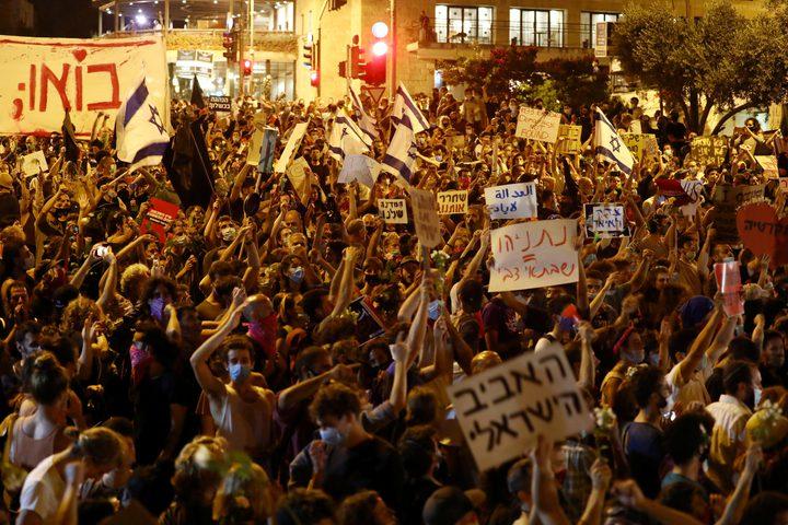 آلاف المستوطنين يتظاهرون ضد نتنياهو ويطالبونه بالاستقالة